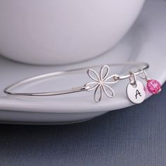 Personalized Bangle Bracelets and Handwriting Gifts by georgiedesigns Lotus Jewelry, Mom Jewelry, Etsy Jewelry, Jewellery, Best Friend Jewelry, Silver Bangle Bracelets, Birthstone Charms, Flower Bracelet, Sterling Silver Jewelry