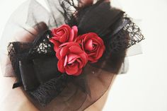 Gothic Hair Clip with Three Red Roses by NeonAngelDesign on Etsy, $12.87