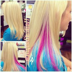 Blonde highlights and pink peekaboo by @niquestudio11