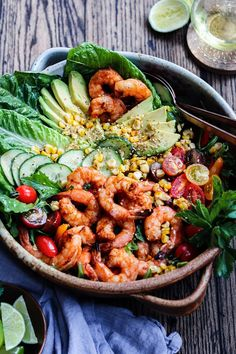 Grilled Shrimp Garden Salad with Sesame Lime Dressing is a delicious, summery entree salad that's quick, easy and perfect any day of the week! Pork Rib Recipes, Side Dish Recipes, Grilled Recipes, Potluck Recipes, Spring Recipes, Bbq Pork Ribs, Grilled Shrimp, Grilled Meat, Lime Dressing