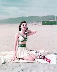 Ann Blyth, 1952. Gorgeous beach outfit! So perfect for my characters in my novel www.girlinthejitterbugdress.com