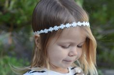 Simple, Floral Headband - Bohemian Style - Tiny White Flowers  - Newborn to Adult Sizes - Elastic back to keep snug - Great for any outfit!