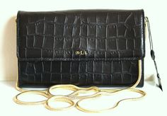 NWT Ralph LAUREN Lanesborough Black Croc Leather Mini Chain Crossbody Bag #RalphLauren #Crossbody