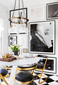 Modern glam dining room Hollywood regency mid century modern mix