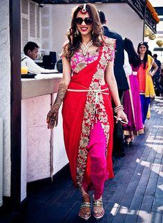 Stunning red and dark pink dhoti saree by Anamika Khanna