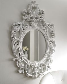 flea marketing til i find this style mirror. a lil white spray paint if needed and it will be hung in my bedroom!