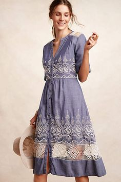 Waters Besticktes Hemdkleid - anthropologie.com