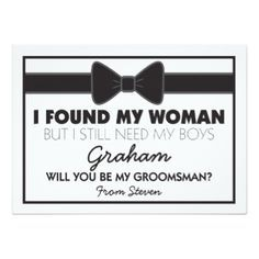 Shop Will You Be My Groomsman Black/White Bow Tie Invitation created by special_stationery. Personalize it with photos & text or purchase as is! Asking Groomsmen, Groomsmen Proposal, Bridesmaids And Groomsmen, How To Ask Groomsmen, Groomsmen Boxes, Bridesmaid Proposal, Bridesmaid Gifts, Groomsmen Presents, Groomsmen Cards
