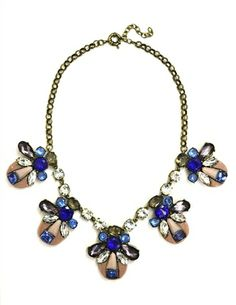 DaisyGem | Designer Pink Blue Sapphire Rhinestone Jeweled Stone Bug Drop Gold Statement Necklace