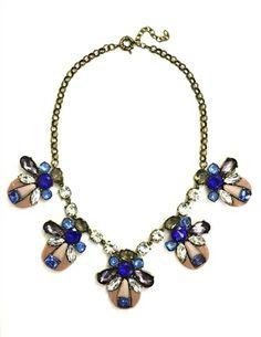 DaisyGem   Designer Pink Blue Sapphire Rhinestone Jeweled Stone Bug Drop Gold Statement Necklace
