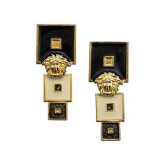 Vintage Gianni Versace Black/White Earrings | From a unique collection of vintage dangle earrings at https://www.1stdibs.com/jewelry/earrings/dangle-earrings/