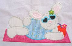 Beach Bunny 01 Machine Applique Embroidery Design  by KCDezigns, $3.50