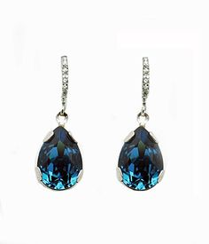 Haute Bride-Teardrop Crystal Earrings (Montana Blue)
