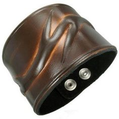 Embossed Tribal Brown Leather Wristband Bracelet (Adjustable)