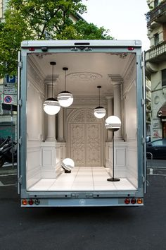 "London designer Lee Broom's ""blink and you'll miss it"" traveling lighting exhibition in the back of a delivery van."