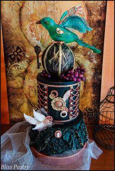 Steampunk vineyard wedding cake