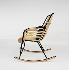Casamania wood and metal Raphia rocking chair by LucidiPevere