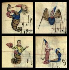 Caricatures of humans with snails