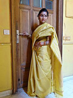 Chanderi - Pale Yellow with Gold Lehar Print