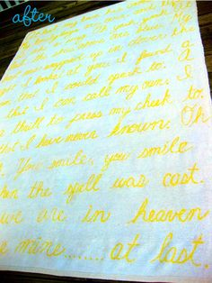 Song lyrics written in perm laundry marker on washable rug.   polkadots and puppies: DIY