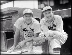 St. Louis Cardinals players Ducky Medwick and Dizzy Dean in the Atlanta Braves' dugout, circa 1937