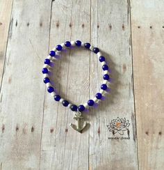 Anchor Beaded Bracelet Anchor Charm Bracelet Beaded Stretch Bracelet Blue Braccelet Glass Beads Charm Stretchy Bracelet Jewelry Handmade