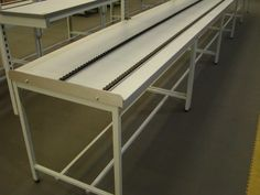 Production line benches with #roller #track top surface