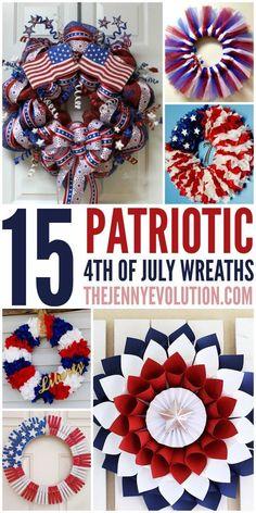 15 DIY 4th of July Patriotic Wreaths