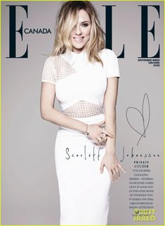 scarlett johansson covers elle canada november 2013 02 Scarlett Johansson bundles up on the cover of Elle Canada's November 2013 issue.    Here's what the 28-year-old actress had to share with the mag:    On staying…
