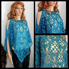 Handmade Crochet Butterfly Shawl Top/Open Sleeve Poncho