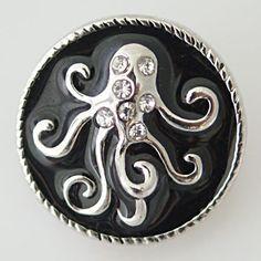 1 PC -- 18MM Black Enamel Rhinestone Octopus Chunk Pop Charm Zinc Silver Snap Popper Fits Bracelet Interchangeable KB7040 CC0470 Diameter Size: 18MM Material: Zinc Alloy, enamel and Rhinestones