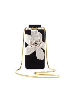 Vertical Floral Velvet Minaudiere, Black by Lanvin at Neiman Marcus.