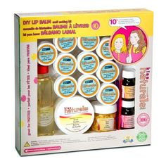 DIY Lip Balm Making Kit from Kiss Naturals - This kit contains enough ingredients to make ten lip balms using all natural ingredients - essential oils, shea butter, beeswax, and safflower oil.