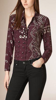 Elderberry escuro Camisa de seda com estampa Paisley - Imagem 1
