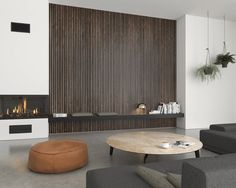 Houten wandpanelen dé nieuwe interieurtrend • De Houtfabriek Wood Panel Walls, Wood Paneling, Slat Wall, Wood Wall, Veneer Panels, Wood Cladding, Wooden Slats, Grey Oak, Acoustic Panels