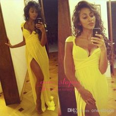 Discount 2014 Vestidos Sexy Yellow Prom Dresses Sweetheart Cap Sleeve Sweep Train Chiffon Side Slit Empire Party Pleats Formal Evening Gown BO5999 Online with $105.05/Piece   DHgate