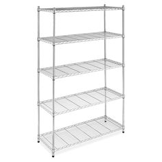 Whitmor Supreme Shelving Collection 48 in. x 74 in. Supreme Shelving in Chrome 60583885 at The Home Depot - Mobile Wire Shelving, Adjustable Shelving, Garage Storage, Storage Shelves, Storage Cabinets, Shelf Supports, Shelf Design, Surf Shop, Cooking