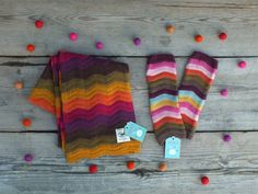 Cashmere blend, with a beautiful rainbow of colours.  This zig zag stripey Avoca Scarf & Gloves Set with bright colours is sure to put a smile on your face on a cold winters day. £45.00