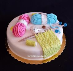 Knitting cake, all details are sugarpaste