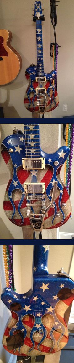 """Custom GMP made right after Sept for owner JD Drury. It is a hollow body (but has no sound holes), Bigsby vibrato, and coil taps for both pickups. The """"Roxie custom paint was based on a guitar owned by Ryan Roxie (Alice Cooper). Love the drop shadow! Music Guitar, Cool Guitar, Playing Guitar, American Flag Pictures, Play That Funky Music, Unique Guitars, Guitar Painting, Bass Amps, Red White Blue"""