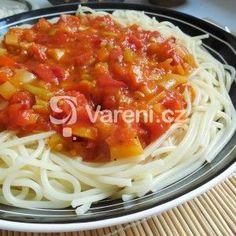 Zeleninová omáčka na těstoviny Clean Eating, Spaghetti, Low Carb, Pasta, Treats, Ethnic Recipes, Food, Bulgur, Cooking