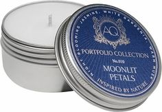 Aquiesse Moonlit Petals Soy Travel Tin Candle | Abode and Company. The Aquiesse Portfolio Candle Tin Collection uses a soy wax blend and is made with organic soybean oil and carefully selected lead-free wicks. Inspired by nature. Relax, breathe, dream and enjoy life!  Elegant and refined recyclable tin with twist on lids for a tight seal. Tins make fantastic keepsake containers.