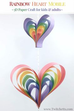 Create a spinning rainbow heart mobile using construction paper. Fun kids rainbow art project that is a perfect rainbow craft for preschoolers, kindergarteners, and kids of all ages! Crafts for kids How to make a fun heart mobile out of paper - Twitchetts Paper Crafts For Kids, Crafts For Girls, Preschool Crafts, Art And Craft, Craft Projects For Kids, Craft Ideas, Love Craft, Crafts To Make For Kids, Art Project For Kids