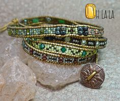 Wrap Bracelet with Crystals and Beads on Gold Leather with Bronze Button