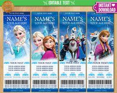 Frozen Ticket Invitation EDITABLE TEXT Printable Birthday