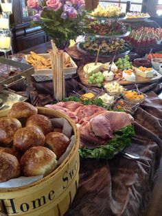 Borrow Trays , Bowls, and Even Fruit Basket for a Pretty Buffet Table ! Party Platters, Cheese Platters, Cheese Table, Appetizer Table Display, Catering Display, Catering Food, Antipasto, Brunch Mesa, Fingers Food