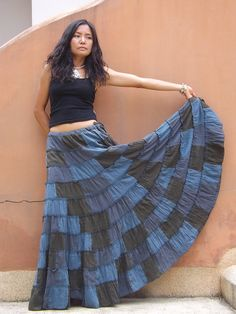 Patchwork Skirt ....Long Skirt ....Full Length Skirt by Ablaa, $46.00