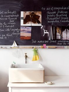 Replace the mirror with a chalkboard. | 27 Clever And Unconventional Bathroom Decorating Ideas