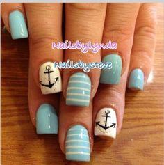 Nautical Nails- now if i could just find this colour blue. Nails Now, Love Nails, Pretty Nails, Gel Nails, Acrylic Nails, Nail Polish, Anchor Nail Designs, Cool Nail Designs, Cruise Nails