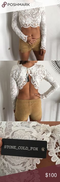 White lace Stone Cold Fox long sleeve crop top White lace crop top with long sleeves. Perfect for a summer evening. Never worn. Stone Cold Fox Tops Crop Tops